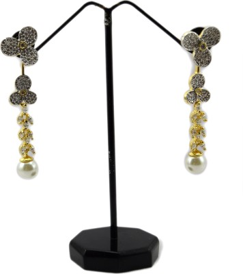 Bharat Sales designer cz stone cuff Cubic Zirconia Copper Drop Earring