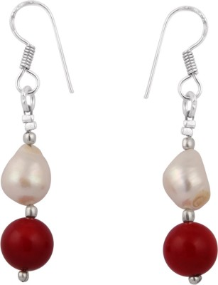 Pearlz Ocean 2.5 Inch White Fresh Water Pearl and Dyed Red Coral Alloy Dangle Earring