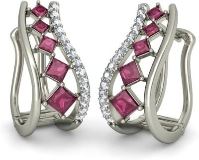 Joyra Attractive Swarovski Zirconia Sterling Silver Hoop Earring