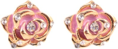 Itzmyfashion Pink Rose Alloy Stud Earring