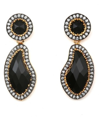 Magiq Peanut Sparkle Stone, Brass Drop Earring