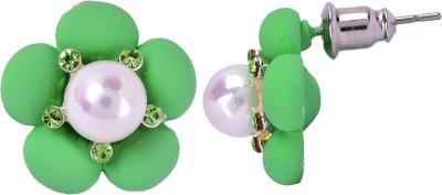 Maisha Royal green and white. Alloy Stud Earring