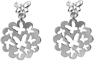 LeCalla Butterfly Laser Cut Rhodium Sterling Silver Dangle Earring