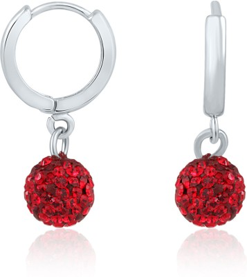 Mahi Dangling Beauty Red Bali Swarovski Crystal Alloy, Brass Hoop Earring at flipkart