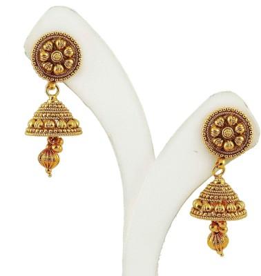 Maalyaa Kundan Jhumka Brass, Copper Jhumki Earring