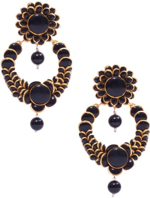 Rubena Gold Plated Danglers With Black Pacchi Work Alloy Drop Earring