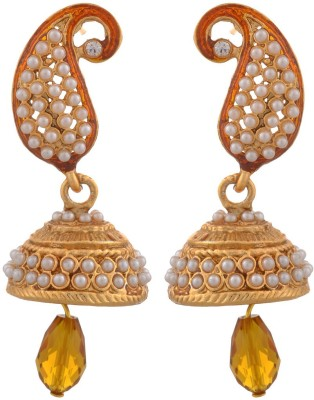 Blacksmith Orange Paisly Crystal Metal Jhumki Earring