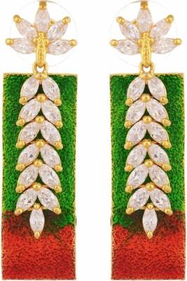 TUAN Leaf shaped colorful Dangle Diamond, Cubic Zirconia Brass Drop Earring