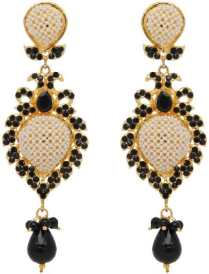 Jaipur Mart White Beaded Traditional Black Alloy Drop Earring