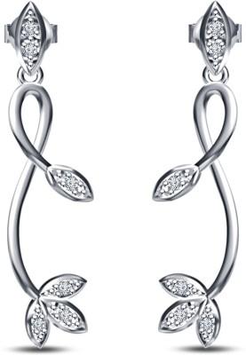Kirati Beautiful Leaf Cubic Zirconia Sterling Silver Drop Earring