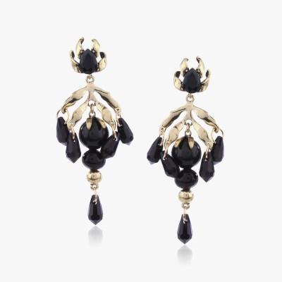 Shamoda Gold Black Bead Metal Dangle Earring