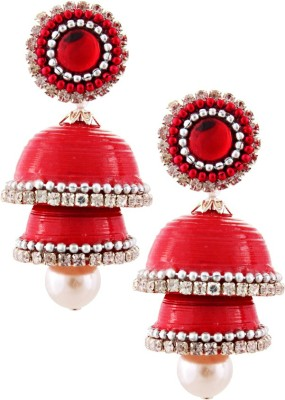 Tamira Hancrafted Single Stud Red Double Jhumka Alloy Jhumki Earring