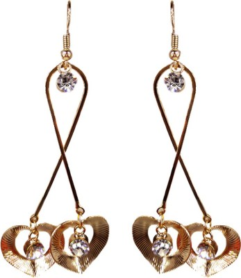 000 Fashions Golden Colour Streched Love shaped crystal Alloy Dangle Earring