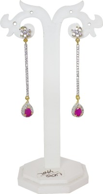 Jewelgrab Dancing Long Pink Ruby Alloy Drop Earring