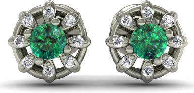 R S Jewels Creative Designs White Gold 18kt Diamond, Emerald Stud Earring