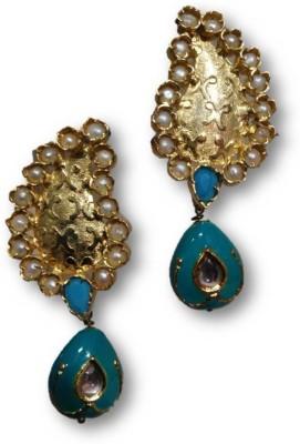 Rajgharana Blue Pankhuri Cubic Zirconia Alloy Drop Earring