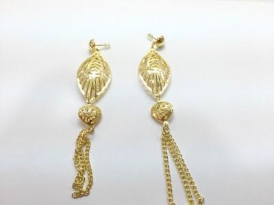 Arkina Diamonds Oval Golden magic Brass Dangle Earring