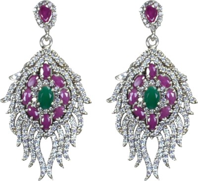 Pearl Paradise Alluring Mayurakshi Emerald, Ruby, Cubic Zirconia Silver Chandelier Earring