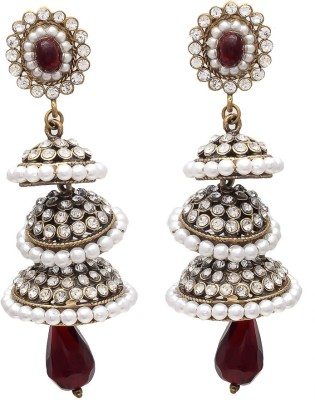 My Sara For Women In Multicolor Cubic Zirconia Brass, Copper Jhumki Earring