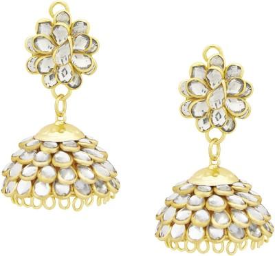 Shining Jewel Offbeat Statement Cubic Zirconia Brass Jhumki Earring