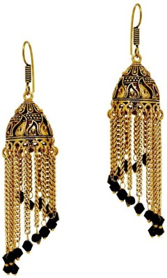 Jaipur Mart Oxidised black Crystal Hanging Crystal Alloy Jhumki Earring