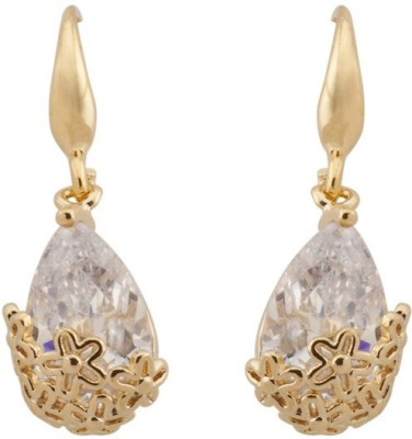RIANZ New Elegant Gold Plated Crystal Water drop Fish Hook Alloy, Crystal Dangle Earring