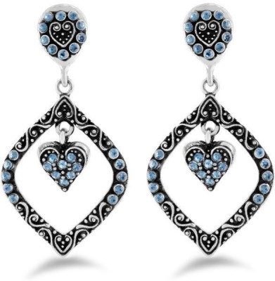 Jazz Jewellery Silver Leaf Inspired Earrings with Blue Color Stones Alloy Drop Earring
