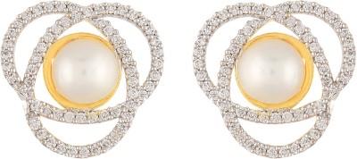 Apollodiamonds Floral Pearl Cubic Zirconia Alloy Stud Earring