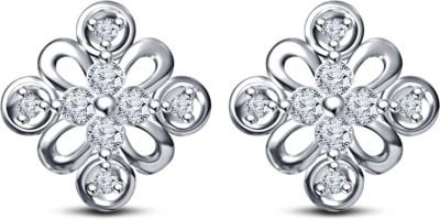 Kirati Attractive Flower Shape Cubic Zirconia Sterling Silver Stud Earring