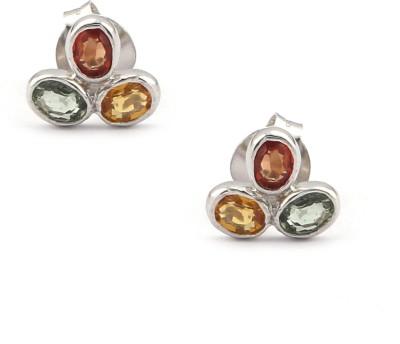 RR FOREVER Gemstone Sapphire Silver Stud Earring