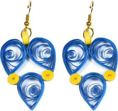Trendmania Blue and Yellow heart shape paper quilled earrings Paper Dangle Earring
