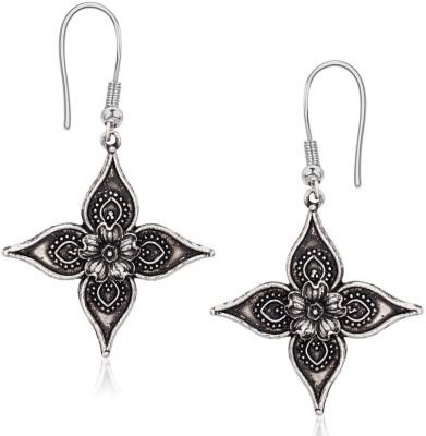 Amaal Amaal Silver oxidised Antique Earrings Diamond Earrings For Women & Girls Cubic Zirconia Alloy Hoop Earring