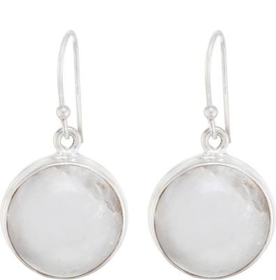 Aarohee Shiny Sparkle Moonstone Sterling Silver Dangle Earring