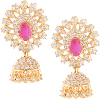 Beautiart Sunshine Ruby Cubic Zirconia Alloy Jhumki Earring