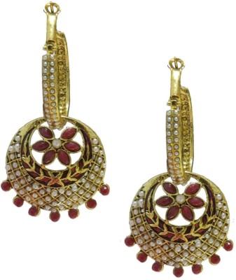 Amroha Crafts Bali-Maroon Alloy Chandbali Earring