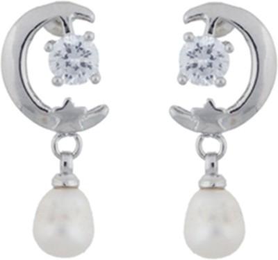 Janki Jewellers Half-Moon Shape Pearl Alloy Drop Earring