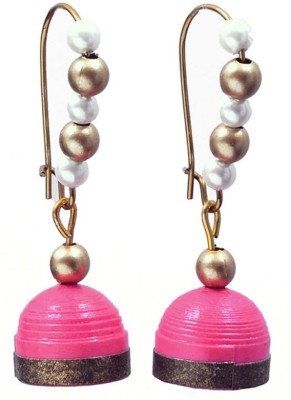 Rivory Bros Traditional Quilled Pink Jhumkis Paper Dangle Earring