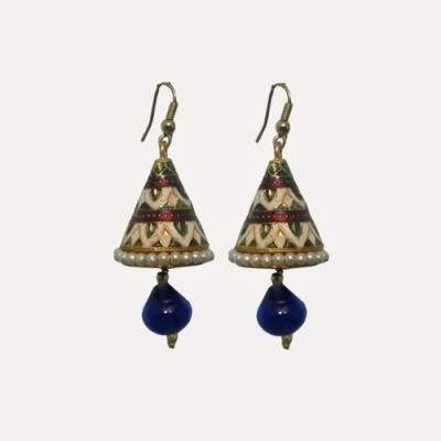 Indianpasand Rajastani Multicolor With Royal Blue Bead Alloy Dangle Earring