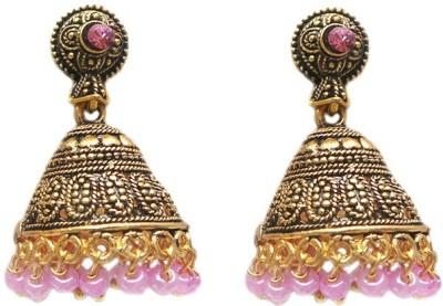 Charvee Temple Coloured Beads Alloy Jhumki Earring