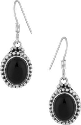 Gemshop STERLING 92.5 STUDDED WITH BLACK ONYX Silver Hoop Earring
