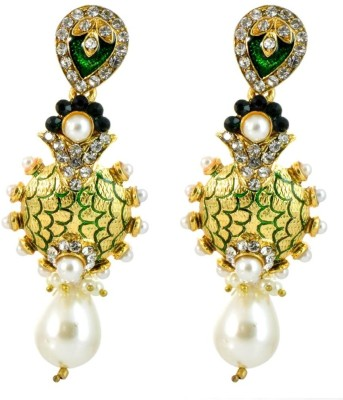 YugshaJewels Sparkling Imitation Cubic Zirconia Brass Drop Earring