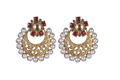 Tatva Brass Metal Based Kundan Alloy Chandbali Earring