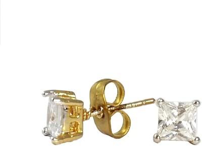 Ammvi 5*5mm Gold Foamed Basket Set Master Cut Crystal Diamond Luxury Stainless Steel Stud Earring