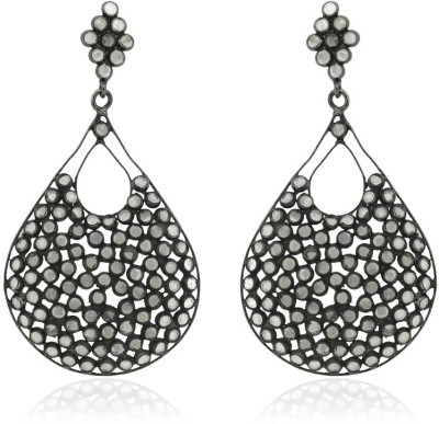 SuvidhaArts Contemporary Fashion Cubic Zirconia Brass Drop Earring
