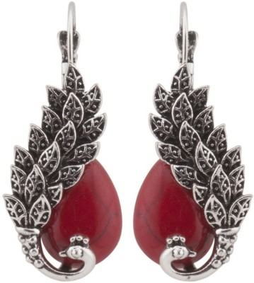 RIANZ Vintage Look Antique Red Stone Malachite Peacock Drop Alloy, Crystal Dangle Earring