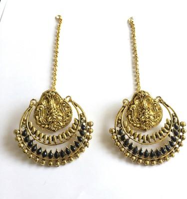 Arkina Diamonds Black Temple Brass Chandbali Earring