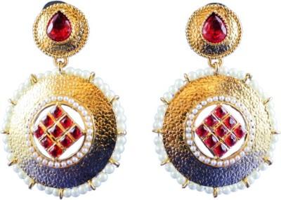 Ratnaraj India Mullti Color Gold Plated Traditional Pearl Dasign Copper Drop Earring