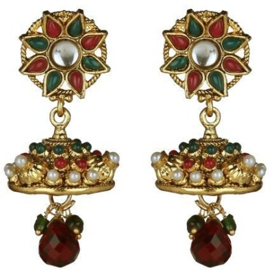 ACW Traditional Jhumka Studded with Maroon Green Stones and Pearls Metal Jhumki Earring