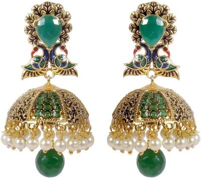 Muchmore Beautiful Partywear Jade Alloy Jhumki Earring