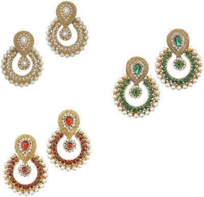 YouBella Combo of Red, Green and Pearls Alloy Chandbali Earring